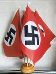 WWII REGULAR NAZI - 5 X TABLE FLAG WITH WOODEN BASE